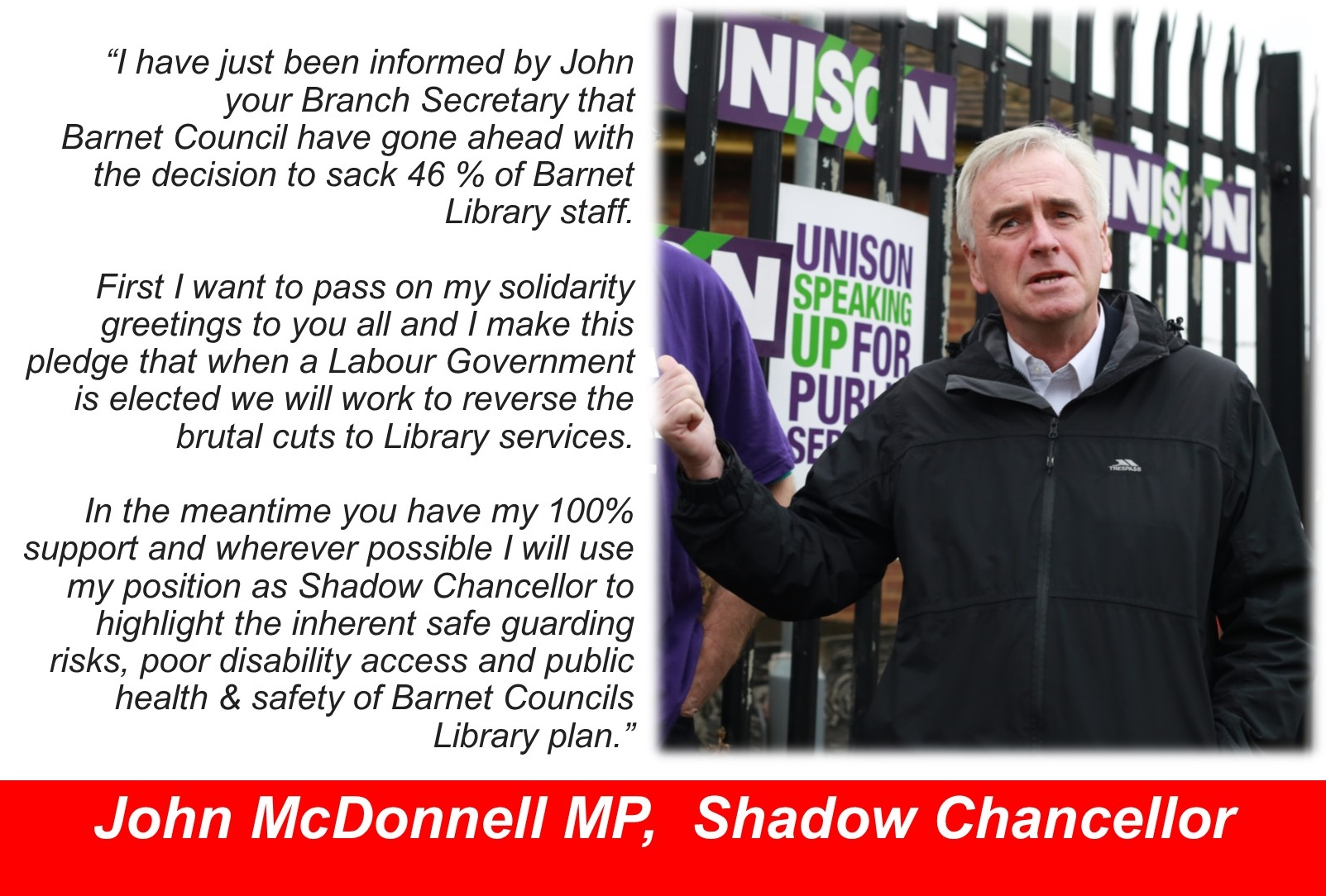 Supporting Barnet UNISON Library workers
